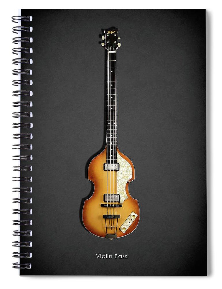 Hofner Violin Bass Spiral Notebook featuring the photograph Hofner Violin Bass 62 by Mark Rogan