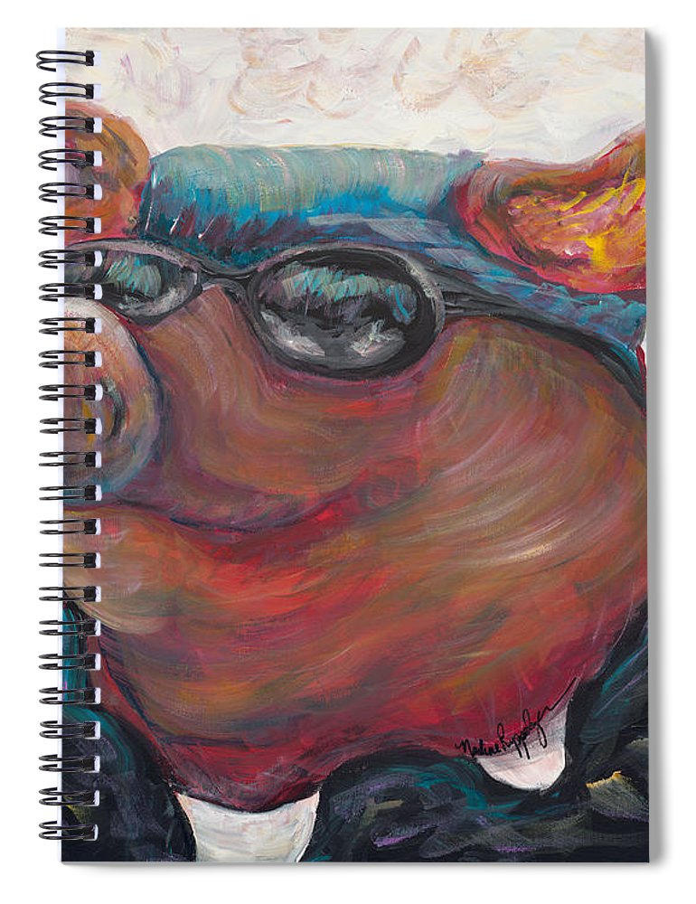 Hog Spiral Notebook featuring the painting Hogley Davidson by Nadine Rippelmeyer
