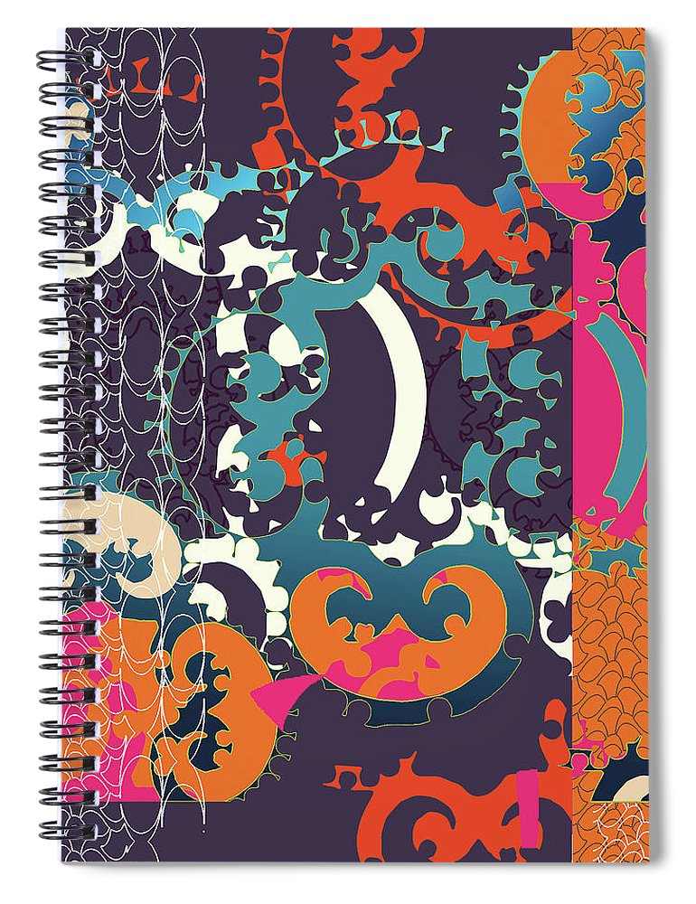 Festive Spiral Notebook featuring the digital art Holiday by Ceil Diskin