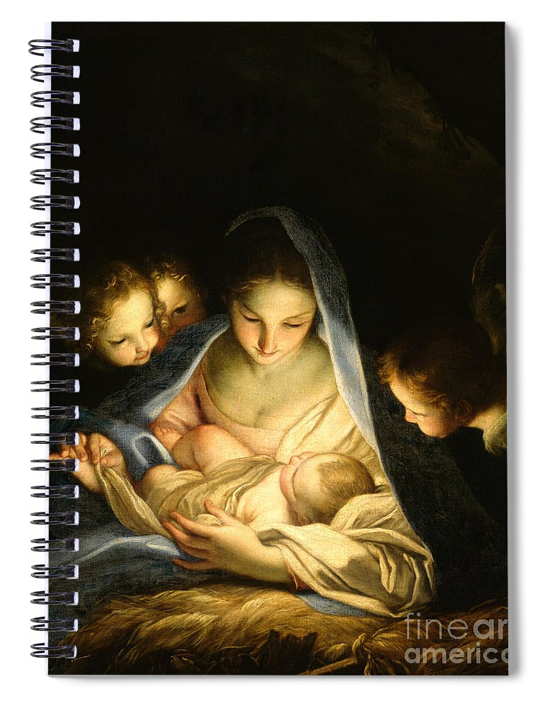 Virgin And Child Spiral Notebook featuring the painting Holy Night by Carlo Maratta
