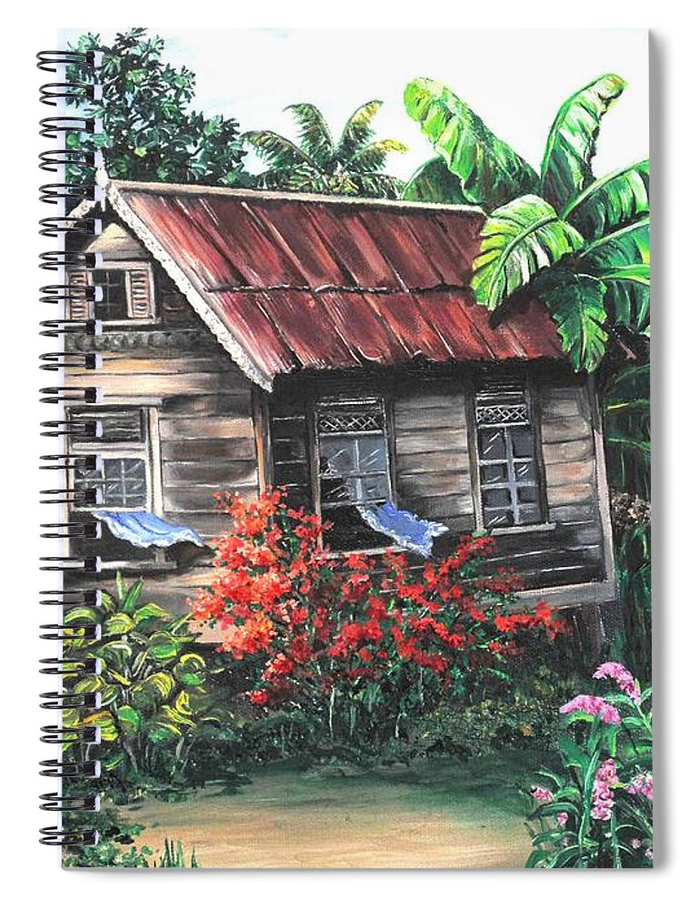 Caribbean House Spiral Notebook featuring the painting Home Sweet Home by Karin Dawn Kelshall- Best