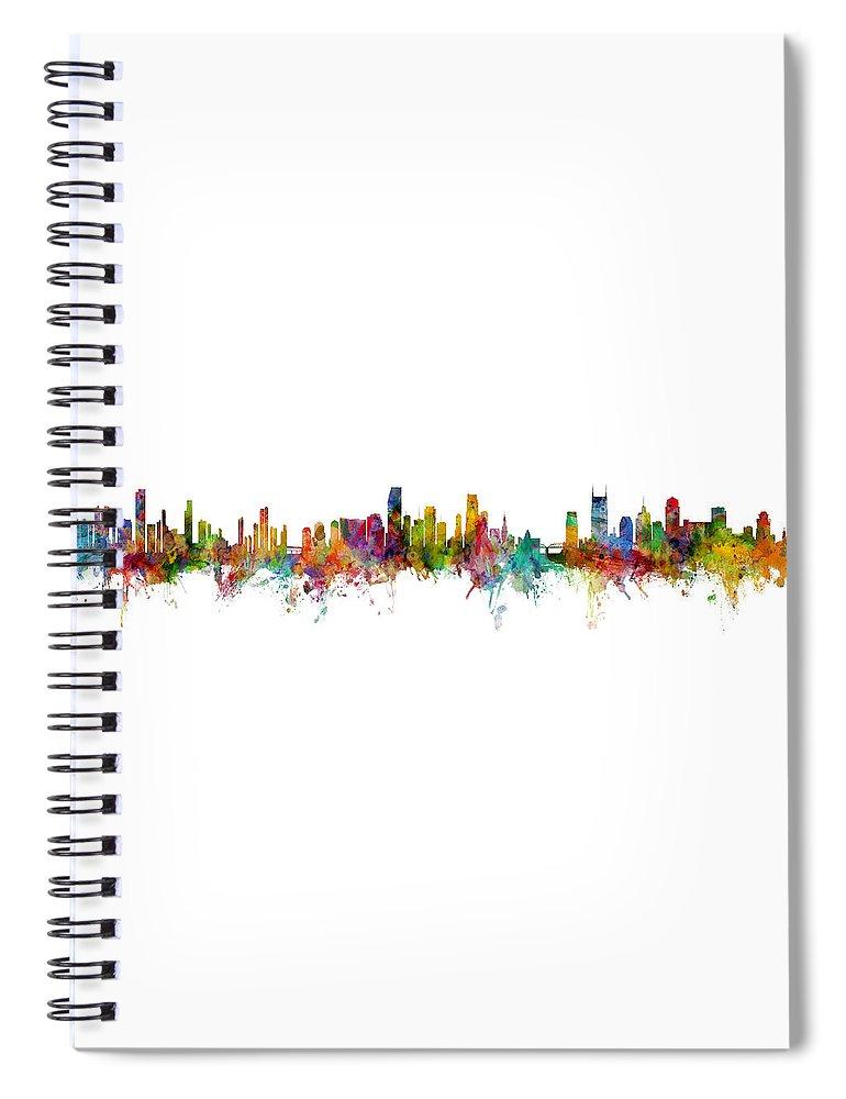 Nashville Spiral Notebook featuring the digital art Honolulu, Miami And Nashville Skylines Mashup by Michael Tompsett