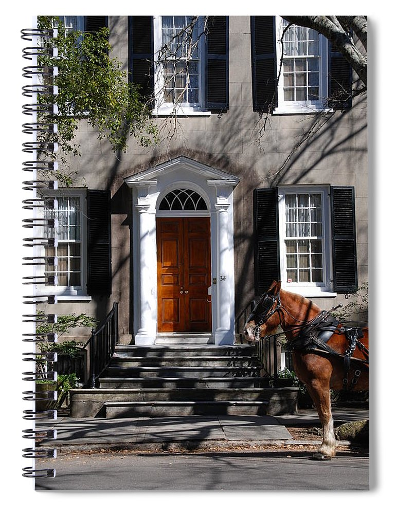 Photography Spiral Notebook featuring the photograph Horse Carriage In Charleston by Susanne Van Hulst