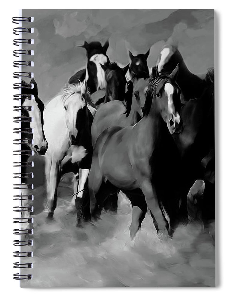 Wild Horse Spiral Notebook featuring the painting Horses Stampede 01 by Gull G
