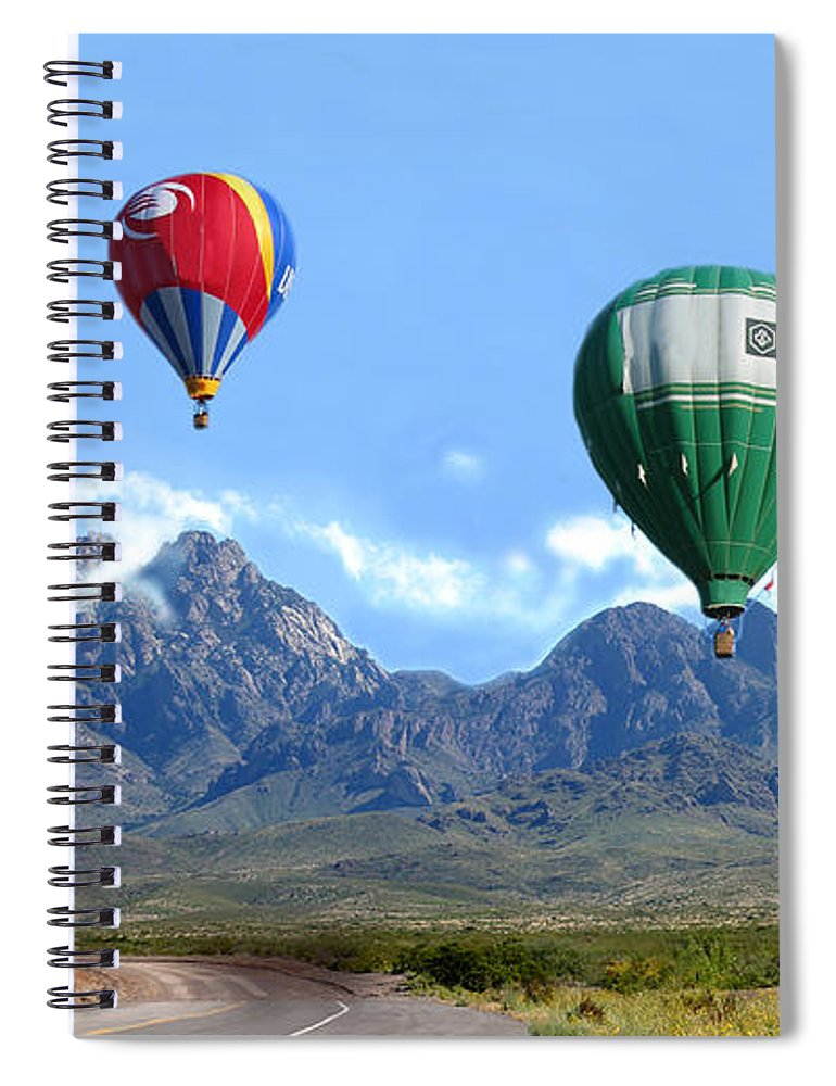 Organ Mountains-desert Peaks National Monument Spiral Notebook featuring the photograph Hot Air Over The Organ Mountains by Jack Pumphrey