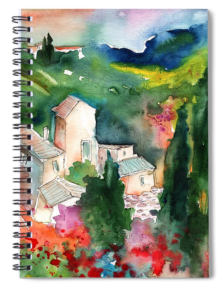 Landscapes Spiral Notebook featuring the painting Houses In Montepulciano In Tuscany 01 by Miki De Goodaboom