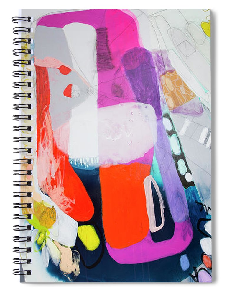 Abstract Spiral Notebook featuring the painting How Many Fingers? by Claire Desjardins