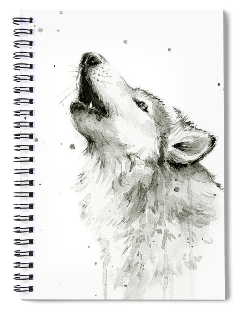 Watercolor Spiral Notebook featuring the painting Howling Wolf Watercolor by Olga Shvartsur