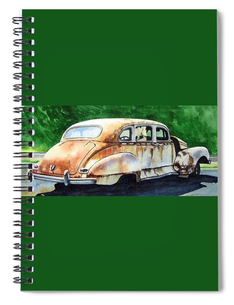 Hudson Car Rust Restore Spiral Notebook featuring the painting Hudson Waiting For a New Start by Ron Morrison