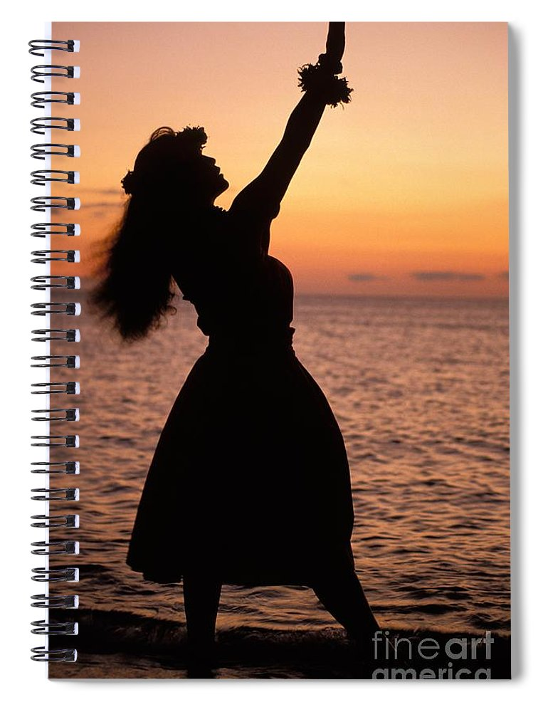 Allan Seiden Spiral Notebook featuring the photograph Hula At Sunset by Allan Seiden - Printscapes