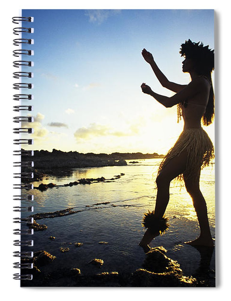 Arm Spiral Notebook featuring the photograph Hula Silhouette by Vince Cavataio - Printscapes