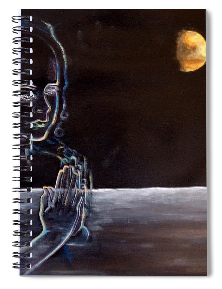 Moon Spiral Notebook featuring the painting Human Spirit Moonscape by Susan Moore