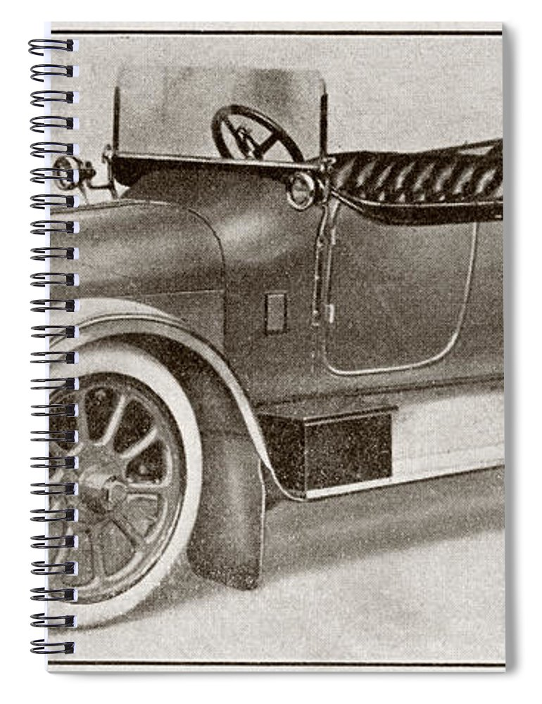 Auto Spiral Notebook featuring the drawing Humber 14 Hp Model Of 1914. From La by Vintage Design Pics