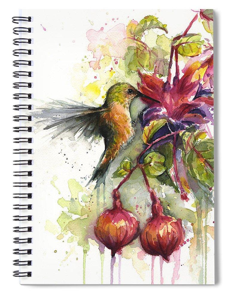 Hummingbird Spiral Notebook featuring the painting Hummingbird and Fuchsia by Olga Shvartsur