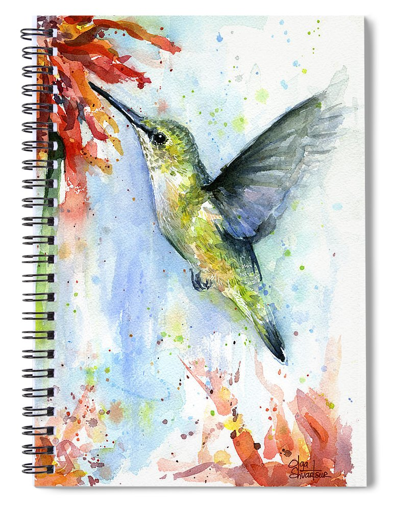Watercolor Spiral Notebook featuring the painting Hummingbird and Red Flower Watercolor by Olga Shvartsur