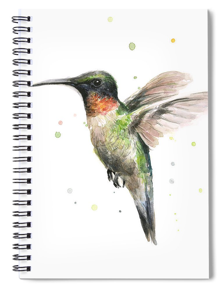 Animal Spiral Notebook featuring the painting Hummingbird by Olga Shvartsur