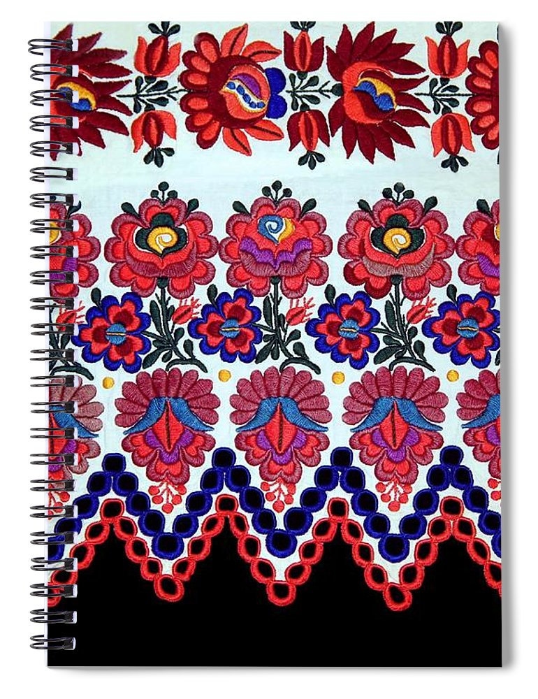 Hungarian Folk Art Embroidery From Sioagard Spiral Notebook For Sale