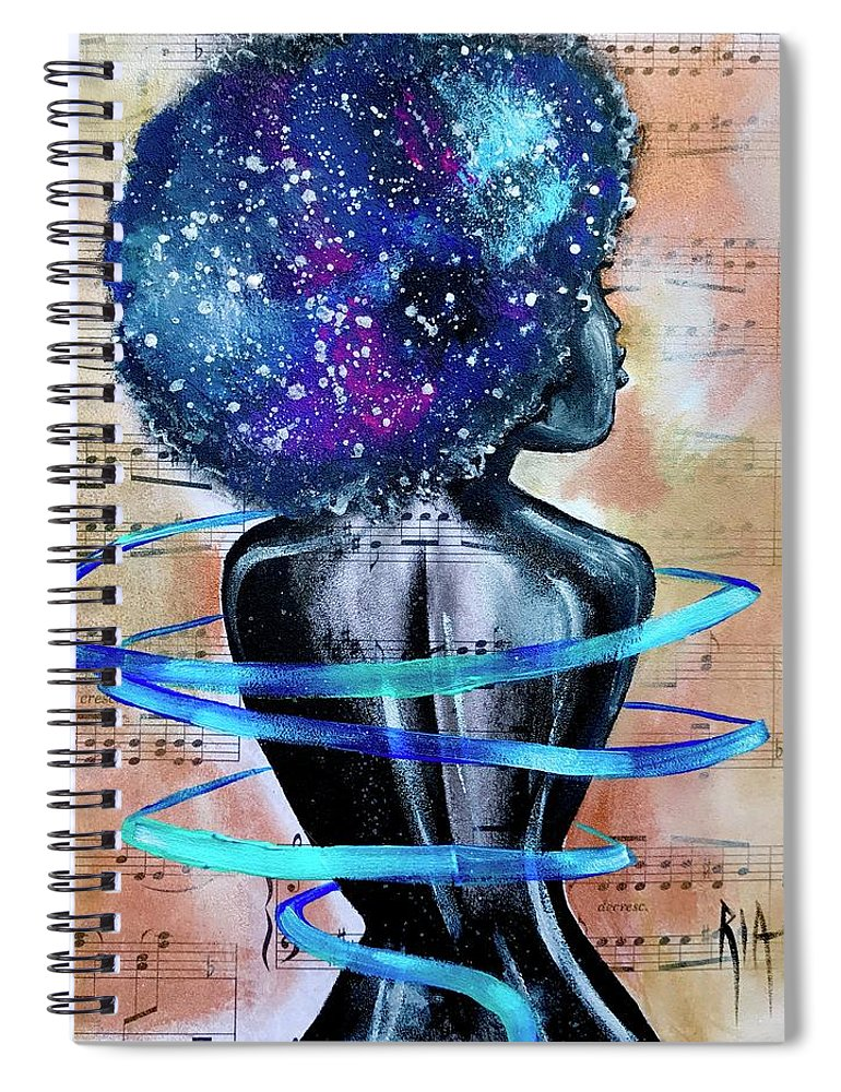 Space Spiral Notebook featuring the painting I Am Her... She Is Me by Artist RiA