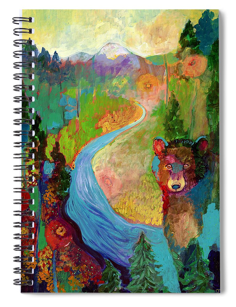 Bear Spiral Notebook featuring the painting I Am The Mountain Stream by Jennifer Lommers