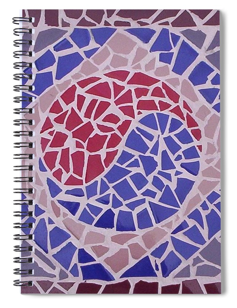 Yin Yang Symbol Spiral Notebook featuring the ceramic art I am Together by Suzanne Udell Levinger