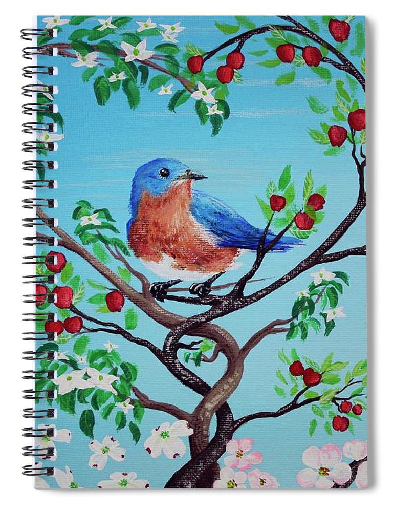 Eastern Bluebird Spiral Notebook featuring the painting I Love A Challenge In Uniqueness by Mandy Elliott