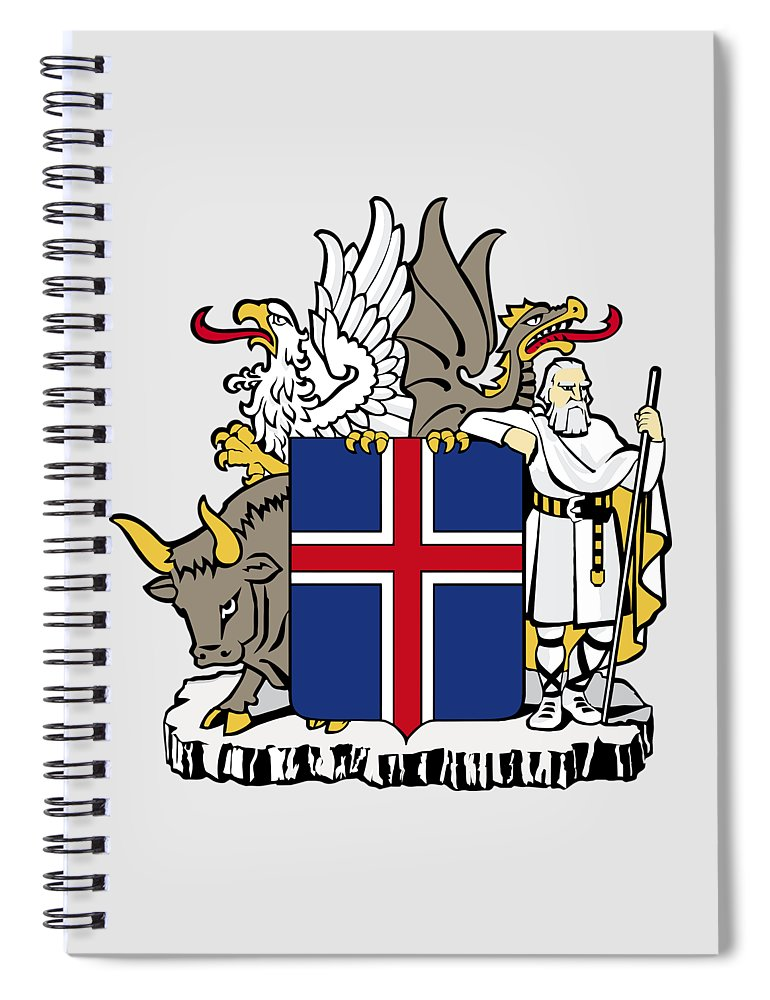 Iceland Spiral Notebook featuring the drawing Iceland Coat Of Arms by Movie Poster Prints