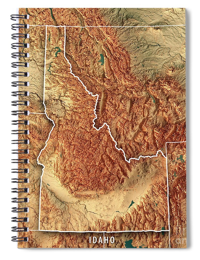 Idaho State Usa 3d Render Topographic Map Border Spiral Notebook