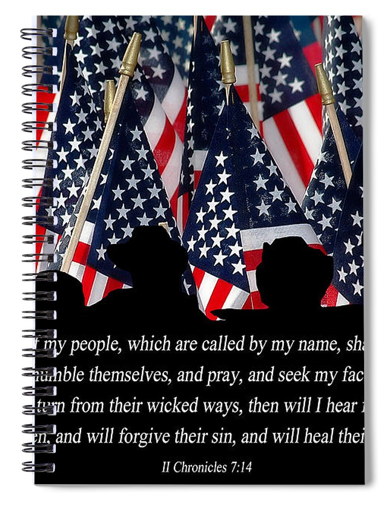 American Flags Spiral Notebook featuring the photograph If My People by Carolyn Marshall