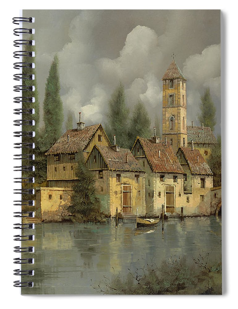 River Spiral Notebook featuring the painting Il Borgo Sul Fiume by Guido Borelli