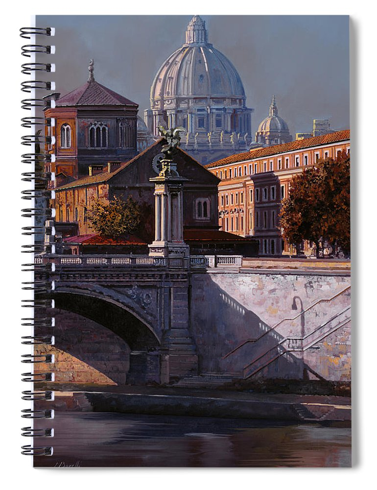 Rome Spiral Notebook featuring the painting Il Cupolone by Guido Borelli