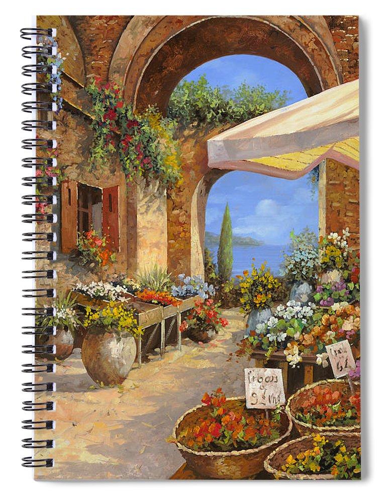 Landscape Spiral Notebook featuring the painting Il Mercato Del Lago by Guido Borelli