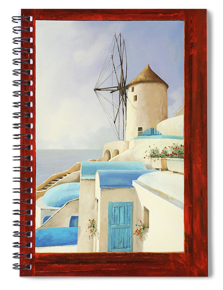 Windmill Spiral Notebook featuring the painting Il Mulino Oltre La Finestra by Guido Borelli