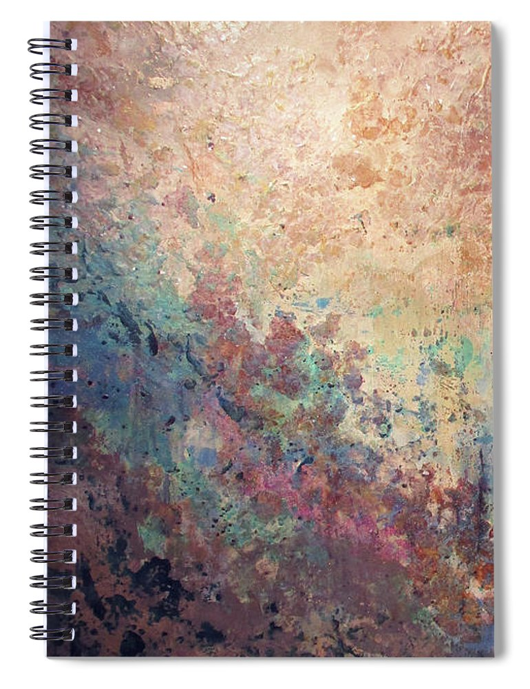 Mica Spiral Notebook featuring the painting Illuminated Valley I Diptych by Shadia Derbyshire