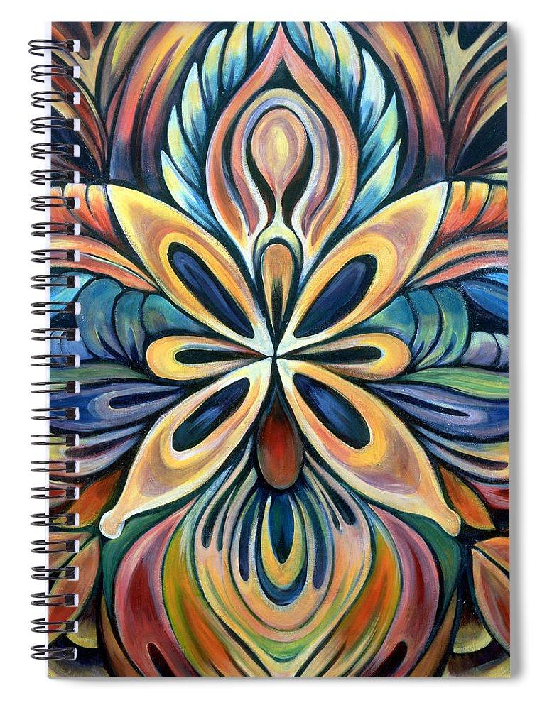 Mandala Spiral Notebook featuring the painting Illumination by Shadia Derbyshire