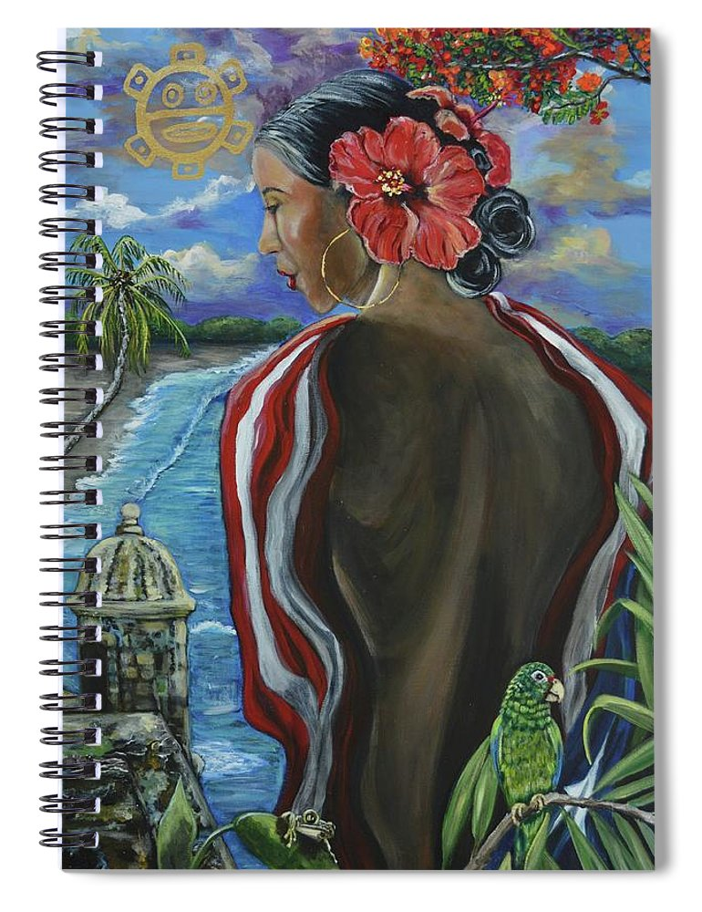 Puerto Rico Spiral Notebook featuring the painting Imagines Boricuas by Melissa Torres