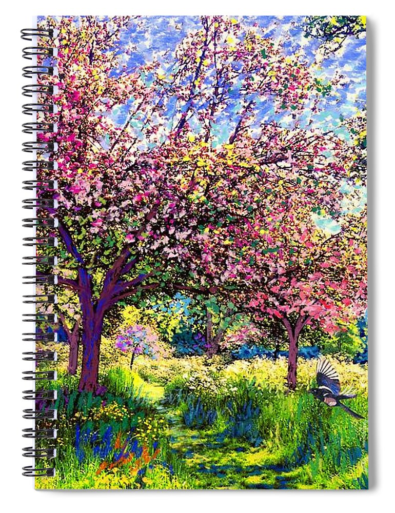 Blossom Spiral Notebook featuring the painting In Love With Spring, Blossom Trees by Jane Small