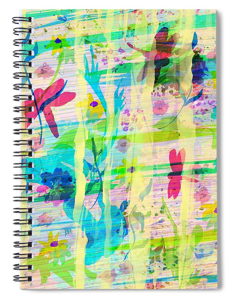 Abstract Spiral Notebook featuring the digital art In the Garden by William Russell Nowicki