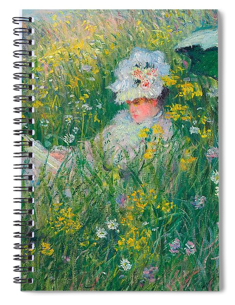 Claude Monet Spiral Notebook featuring the painting In The Meadow by Claude Monet