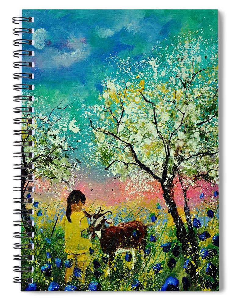 Landscape Spiral Notebook featuring the painting In the orchard by Pol Ledent