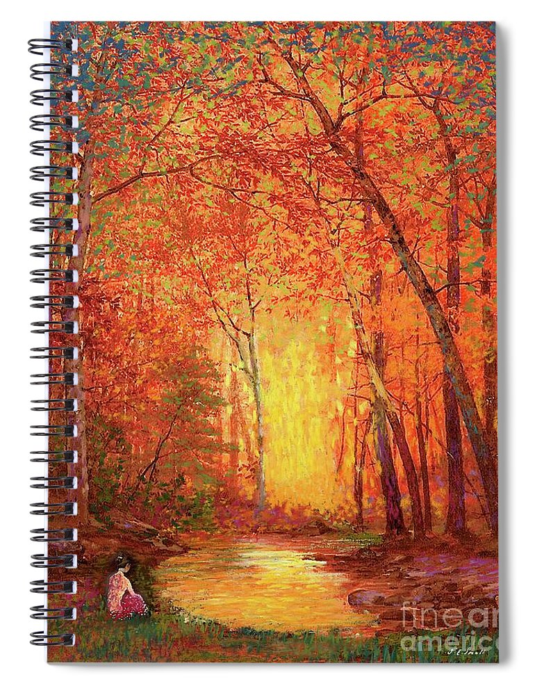 Meditation Spiral Notebook featuring the painting In The Presence Of Light Meditation by Jane Small