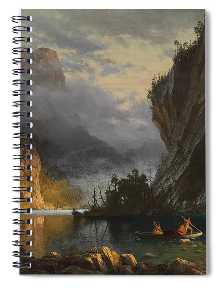 Landscape; Romantic; Romanticist; America; North America; American; North American;landscape; Rural; Countryside; Wilderness; Scenic; Picturesque; Atmospheric; Indians; Native American; Native Americans; American Indian; American Indians; Lake; River; Dramatic; Clouds; Mountains; Mountainous; Western; Rugged; Cliffs; Beach; Boat; Fishing; Spear; Spears; Waterfall Spiral Notebook featuring the painting Indians Spear Fishing by Albert Bierstadt