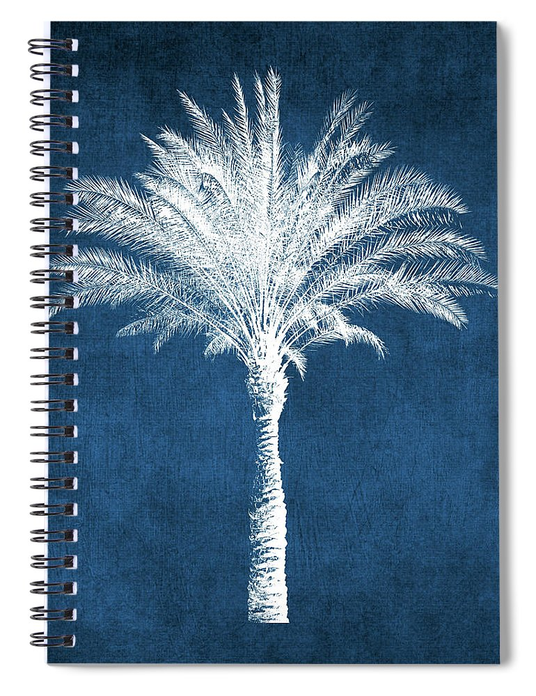 Palm Tree Spiral Notebook featuring the mixed media Indigo and White Palm Tree- Art by Linda Woods by Linda Woods