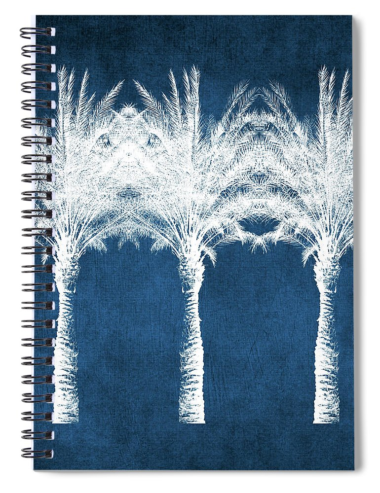 Palm Tree Spiral Notebook featuring the mixed media Indigo And White Palm Trees- Art by Linda Woods by Linda Woods
