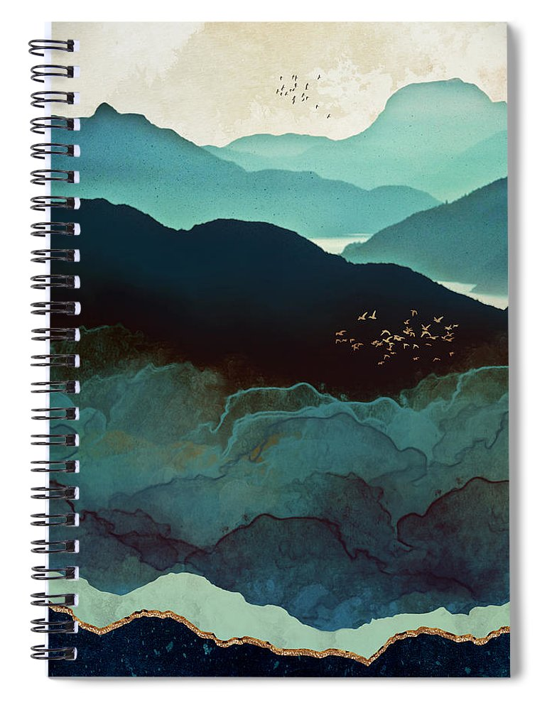 Indigo Spiral Notebook featuring the digital art Indigo Mountains by Spacefrog Designs