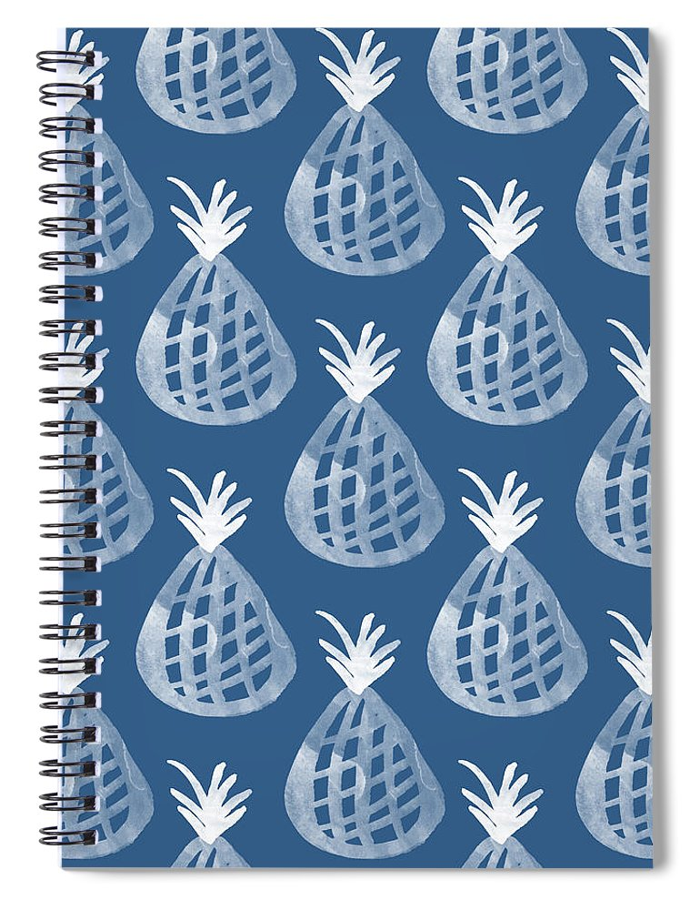 Indigo Spiral Notebook featuring the mixed media Indigo Pineapple Party by Linda Woods