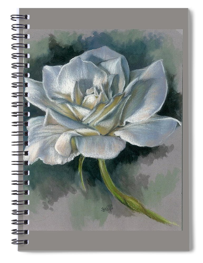 Rose Spiral Notebook featuring the mixed media Innocence by Barbara Keith