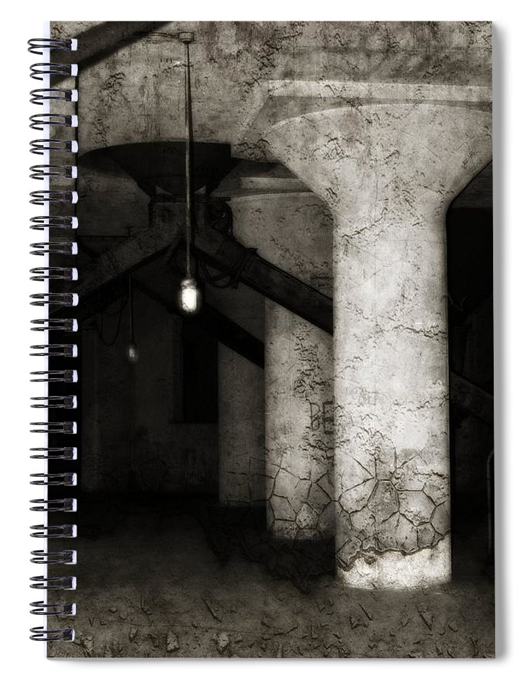 Old Factory Spiral Notebook featuring the photograph Inside Empty Dark Building With Light Bulbs Lit by Gothicrow Images