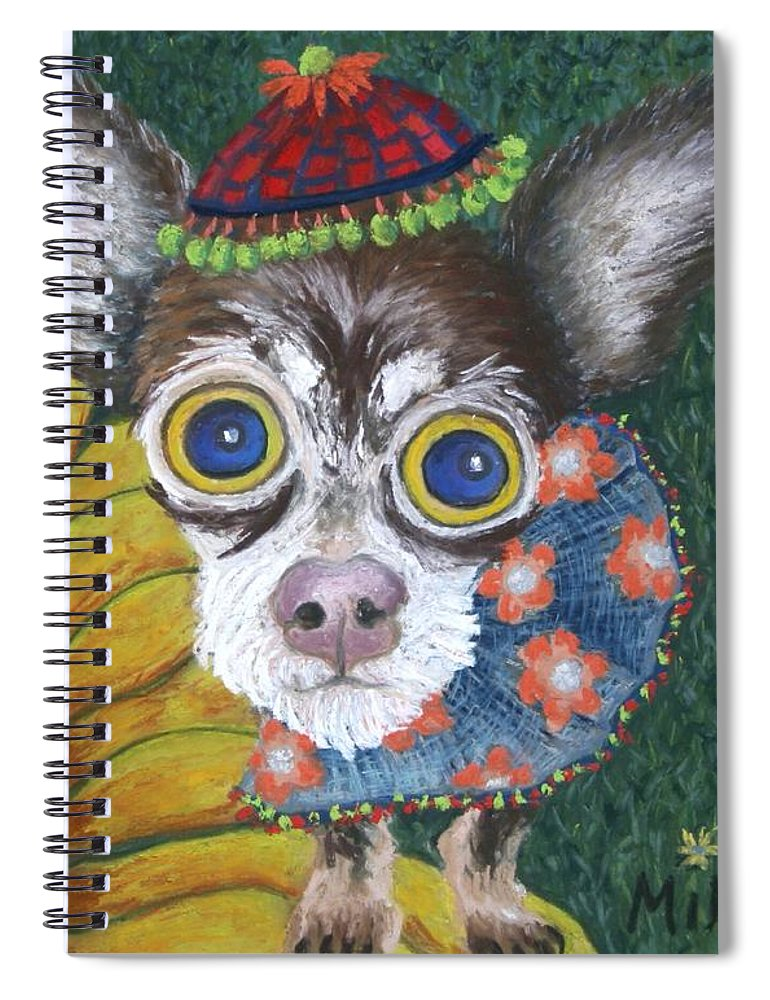 Chihuahua Spiral Notebook featuring the painting Inside Van Gogh's Garden Sits Sunflower Sally by Minaz Jantz