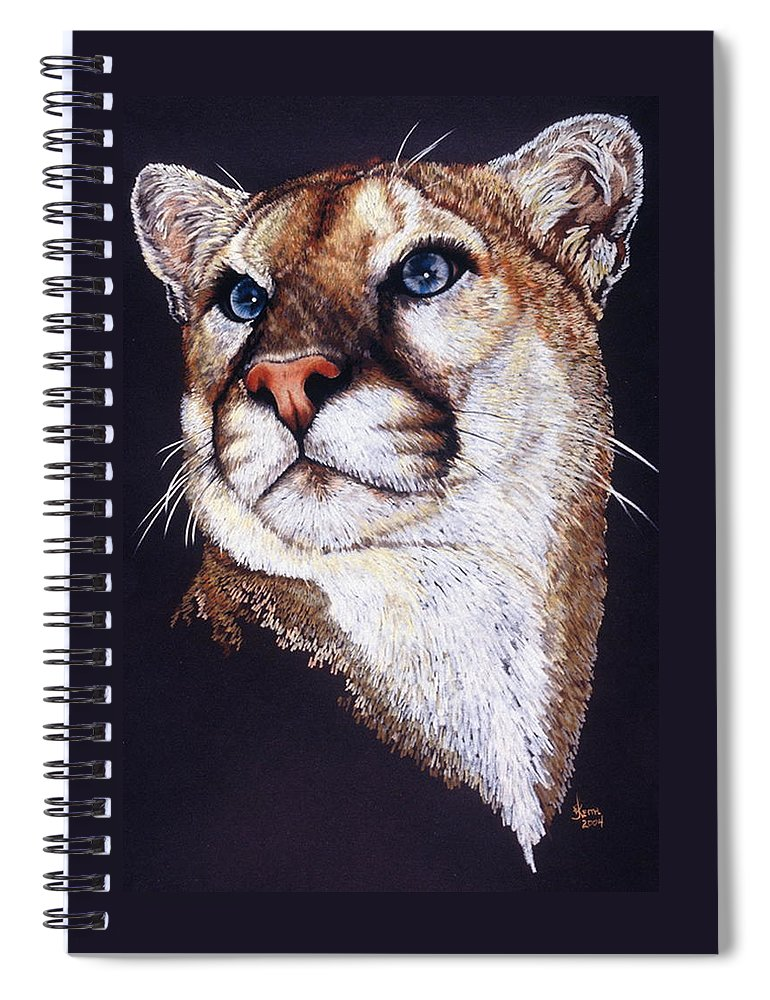 Cougar Spiral Notebook featuring the drawing Intense by Barbara Keith