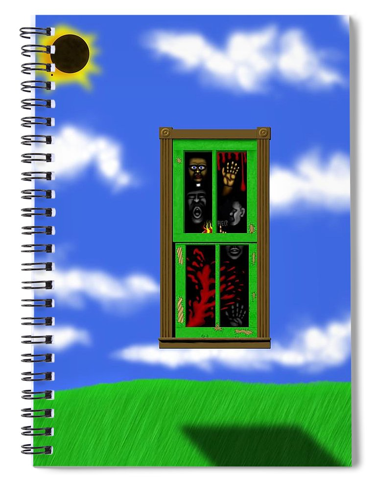 Surrealism Spiral Notebook featuring the digital art Into The Green Window by Robert Morin